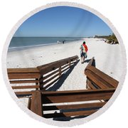 Tide Of Sand Over A Ramp On The Beach In Naples Florida Round Beach Towel