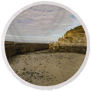 Round Beach Towel featuring the photograph Tide Out Portreath by Brian Roscorla