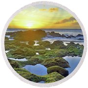 Round Beach Towel featuring the photograph Tide Pools At Sunset by Tara Turner