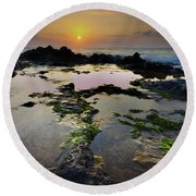 Tide Pools Round Beach Towel by James Roemmling