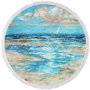 Tide Rising Round Beach Towel by Linda Olsen