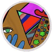Tie Dye Abstract Round Beach Towel by David Jackson
