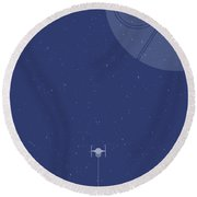 Tie Fighter Defends The Death Star Round Beach Towel