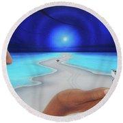 Tiempo Y Espacio Version Lv Round Beach Towel by Angel Ortiz