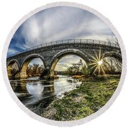 Tiffany Bridge Panorama Round Beach Towel