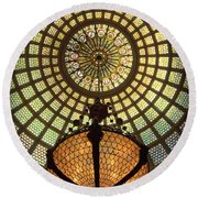 Tiffany Ceiling In The Chicago Cultural Center Round Beach Towel