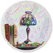 Tiffany Lamp Round Beach Towel by Bill Cannon