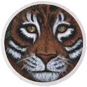 Round Beach Towel featuring the painting The Hunt by Alga Washington