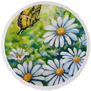 Tiger And Daisies  Round Beach Towel