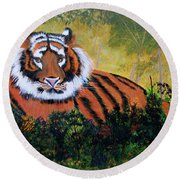 Tiger At Rest Round Beach Towel