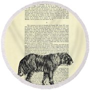 Tiger Black And White Illustration Round Beach Towel