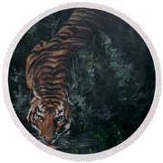 Round Beach Towel featuring the painting Tiger by Bryan Bustard