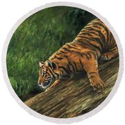 Round Beach Towel featuring the painting Tiger Descending Tree by David Stribbling