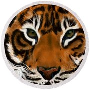 Tiger Eyes Round Beach Towel