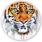 Tiger Face Close-up Round Beach Towel