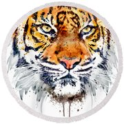 Round Beach Towel featuring the mixed media Tiger Face Close-up by Marian Voicu