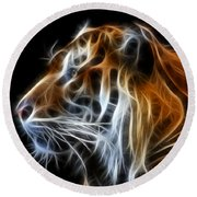 Tiger Fractal Round Beach Towel