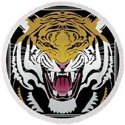 Tiger Head Round Beach Towel