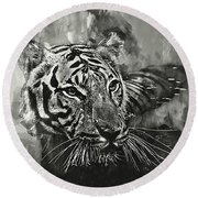Tiger Head Monochrome Round Beach Towel by Jack Torcello