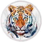 Tiger Head Watercolor Round Beach Towel