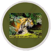Tiger In The Sunderban Delta Round Beach Towel