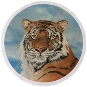 Bengal Tiger Round Beach Towel by Jean Walker