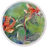Round Beach Towel featuring the painting Tiger Lilies by Mindy Newman