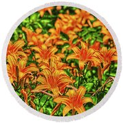 Tiger Lilies Round Beach Towel