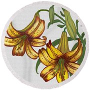 Round Beach Towel featuring the digital art Tiger Lily Blossom  by Walter Colvin