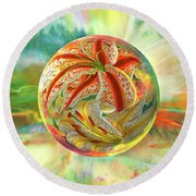 Round Beach Towel featuring the digital art Tiger Lily Dream by Robin Moline