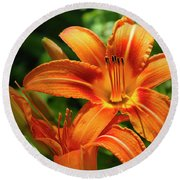 Tiger Lily Explosion Round Beach Towel