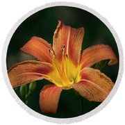 Tiger Lily II Round Beach Towel
