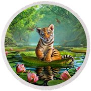 Tiger Lily Round Beach Towel by Jerry LoFaro