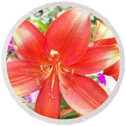 Round Beach Towel featuring the photograph Tiger Lily by Sharon Duguay