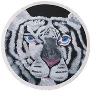 White Tiger Thoughts Round Beach Towel by Meryl Goudey