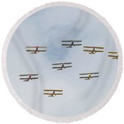 Round Beach Towel featuring the photograph Tiger Moth Formation by Gary Eason