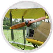 Round Beach Towel featuring the photograph Tiger Moth Propeller by Gary Eason