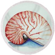 Tiger Nautilus Seashell Round Beach Towel