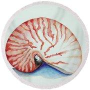 Tiger Nautilus Seashell Round Beach Towel