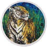 Tiger Night Hunt Round Beach Towel by Shirley Heyn