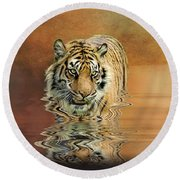 Tiger Reflections Round Beach Towel