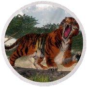 Tiger Roaring - 3d Render Round Beach Towel