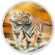 Round Beach Towel featuring the mixed media Tiger Run by Carol Cavalaris