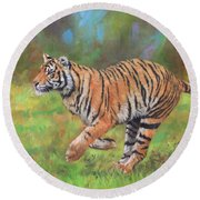 Round Beach Towel featuring the painting Tiger Running by David Stribbling