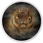 Tiger Round Beach Towel by Sandy Keeton