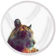 Tiger // Solace - White Background Round Beach Towel