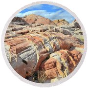 Tiger Stripes In Valley Of Fire Round Beach Towel by Ray Mathis