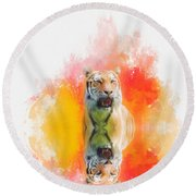 Tiger Sunset Round Beach Towel by Suzanne Handel