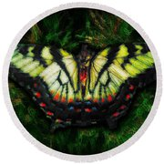 Round Beach Towel featuring the photograph Tiger Swallowtail by Iowan Stone-Flowers