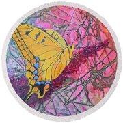 Tiger Swallowtail Round Beach Towel by Nancy Jolley